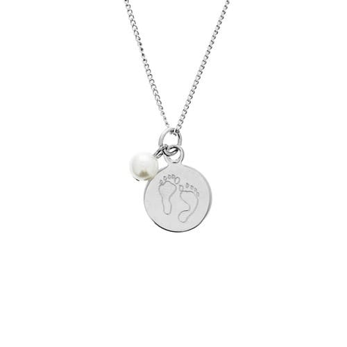 Personalized Baby Feet Pearl & Charm Necklace