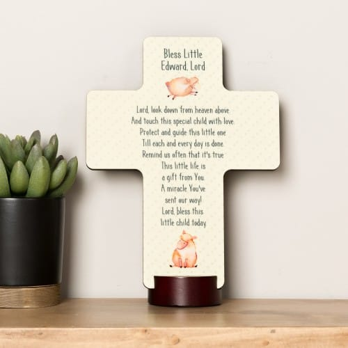 Personalized Bless This Child Standing Cross