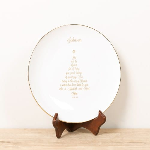Personalized Christmas Tree Calligraphy Plate