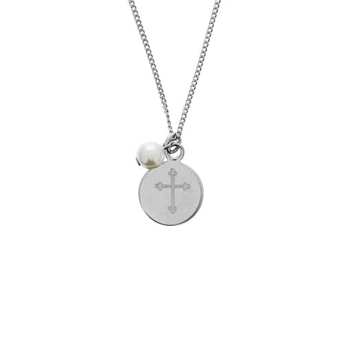 Personalized Cross Pearl and Charm Necklace