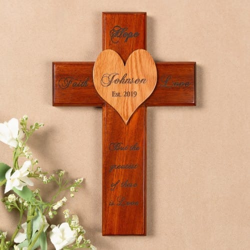 Personalized Faith Hope and Love Marriage Cross - 10 inch