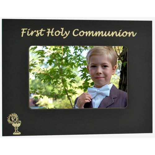 Personalized First Communion Black and Gold Metal Frame  4x6