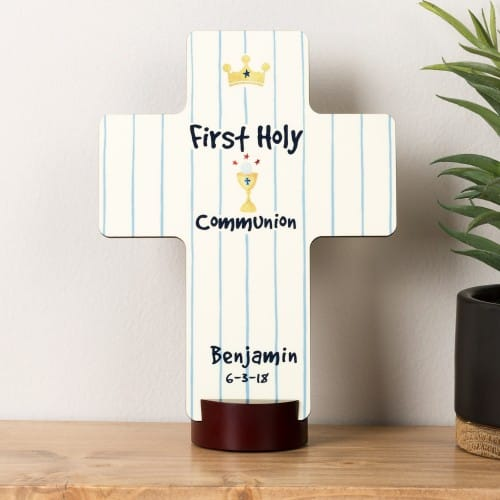 Personalized First Communion Boy's Watercolor Cross