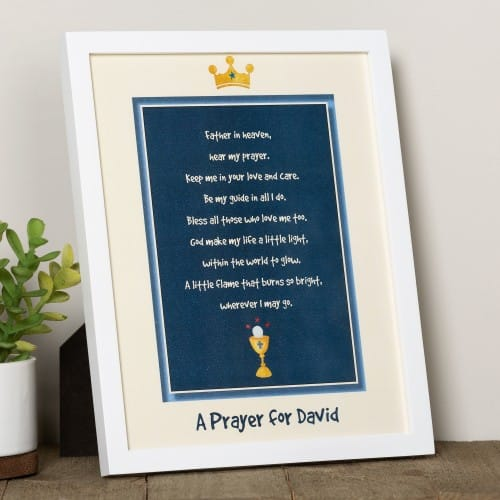 Personalized First Communion Framed Prayer - Boy