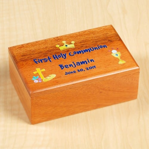 Personalized First Communion Watercolor Wood Box - Boy