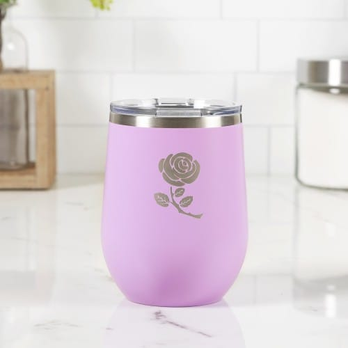 Personalized Little Flower Lilac Wine Tumbler