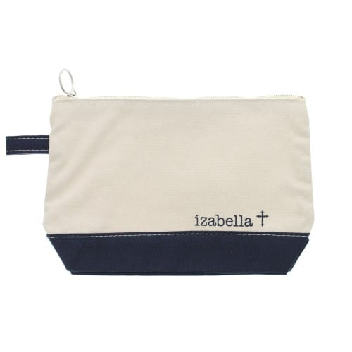 Personalized Natural & Navy Cross Zip Pouch