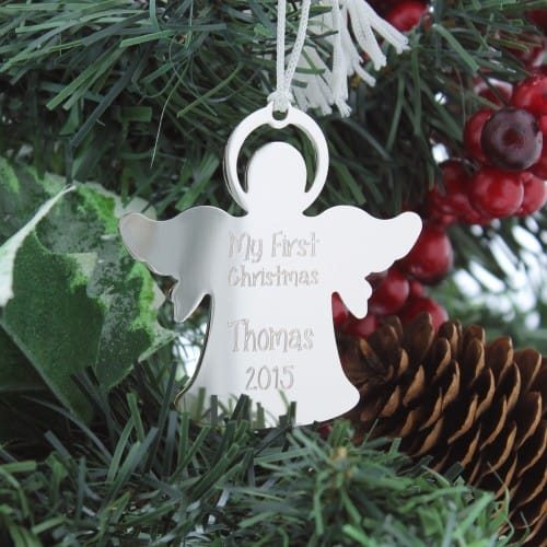 personalized new baby silver angel ornament the catholic company
