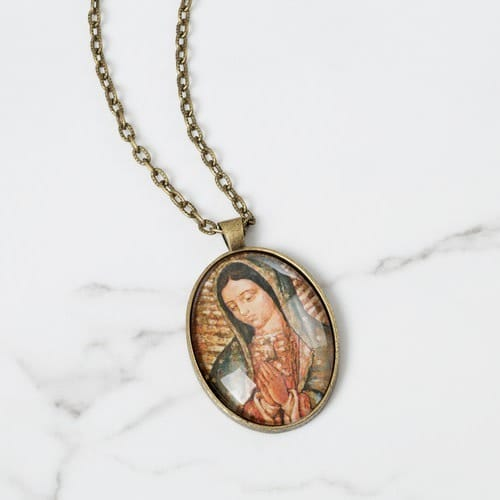 Personalized Our Lady of Guadalupe Oval Pendant