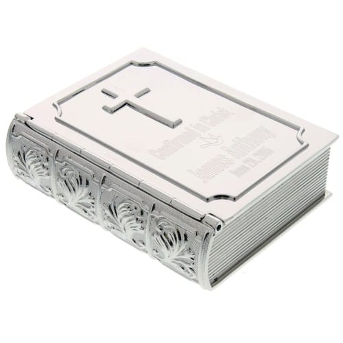 Personalized Silver Bible Confirmation Keepsake Box - 3.5