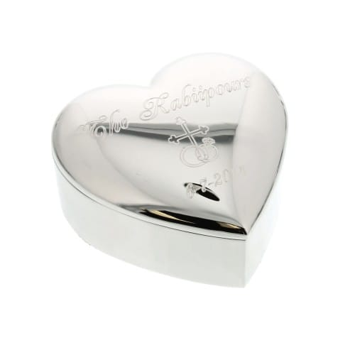 Personalized Silver Heart Wedding Ring Keepsake Box