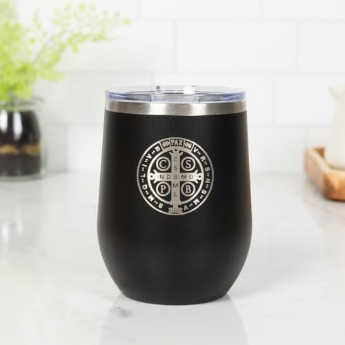 Personalized St. Benedict Black Wine Tumbler