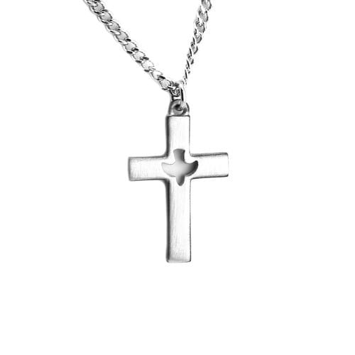 Pewter Cross Pendant w/Dove Center on 24 inch chain
