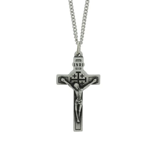 Pewter Crucifix With Holy Land Relic