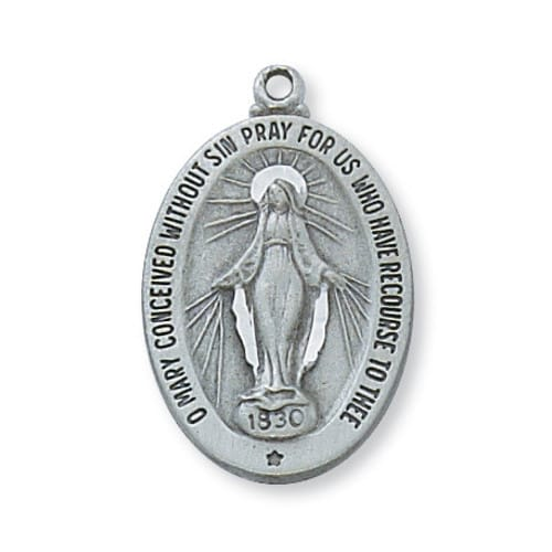 Pewter Miraculous Medal with 18 inch chain