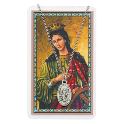 Pewter St. Catherine of Alexandria Medal with Prayer Card