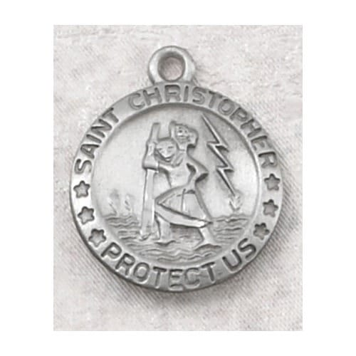 Pewter St. Christopher Medal with 18 inch chain