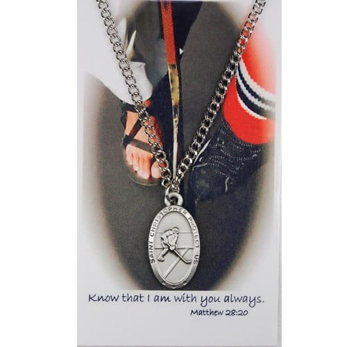 Pewter St. Christopher Medal with Prayer Card - Ice Hockey (Boy)