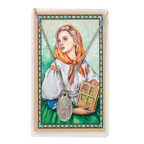 Pewter St. Dymphna Medal and Prayer Card