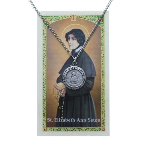 Pewter St. Elizabeth Ann Seton Medal with Prayer Card