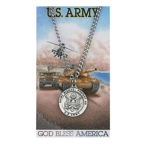 Pewter St. Michael Army Medal with Prayer Card