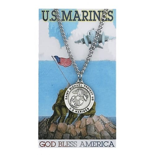 Pewter St. Michael Marine Medal with Prayer Card