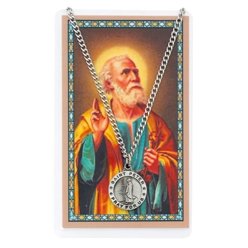 Pewter St. Peter Medal with Prayer Card