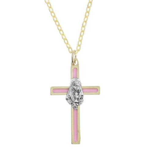 Pink First Communion Cross Necklace, Girl