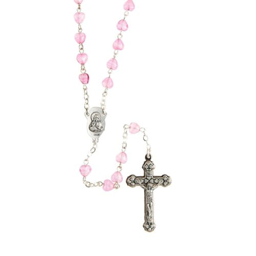 Pink Heart Glass Rosary