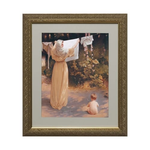 Polish Madonna Matted W Ornate Gold Frame 13x15 The