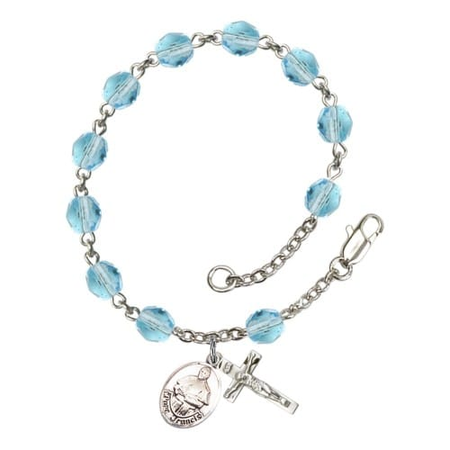 Pope Francis Aqua Blue March Rosary Bracelet 6mm