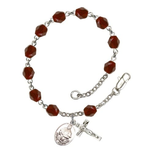 Pope Francis Red January Rosary Bracelet 6mm