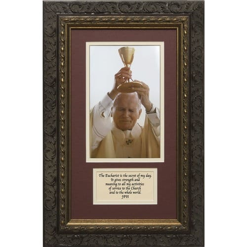 Pope John Paul II (Matted with Quote in Dark Ornate Frame) 8x14