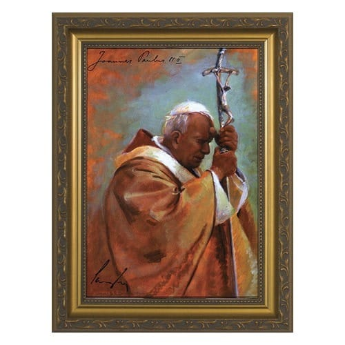 Pope John Paul II Oil Painting by James Langley w/ Gold Frame (7x10)
