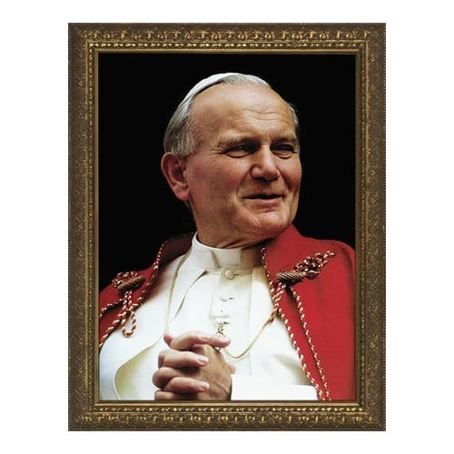 Pope John Paul II Portrait w/ Gold Frame