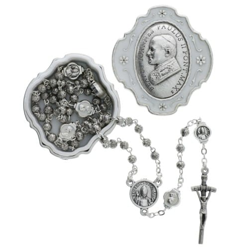 Pope John Paul II Rosary box with Rosary