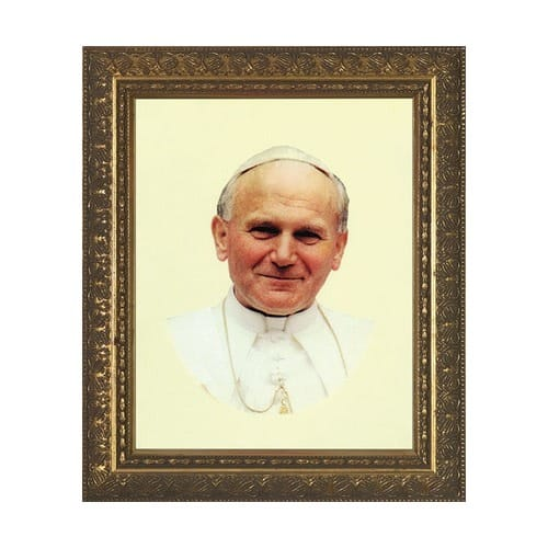 Pope John Paul II Smiling w/ Gold Frame (8x10)