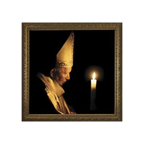 Pope John Paul II w/ Paschal Candle in Gold Frame (13x13)