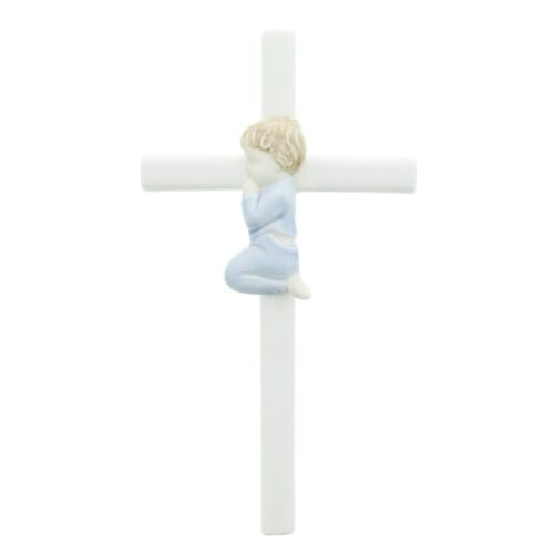 Porcelain Cross - Boy 7.5 inch