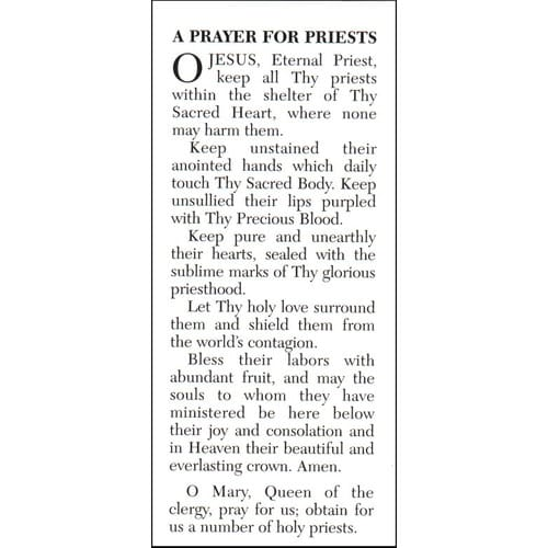 The Prayer for Priests Prayercard (Pack of 100)