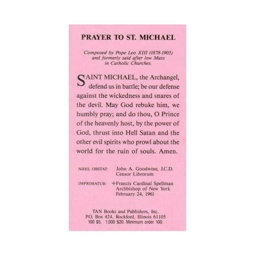 Prayer to st michael prayer card pack of 100 the catholic company