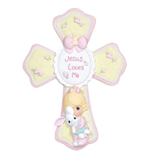 Precious Moments Jesus Loves Me Pink Cross