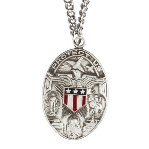 Protect Us Sterling Medal with Stars and Stripes