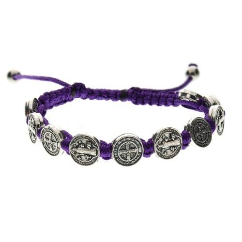 Purple St Benedict Woven Bracelet