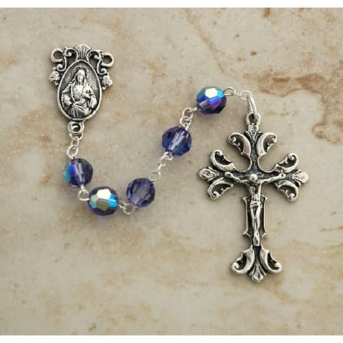 Purple Tanzanite Swarovski Crystal Rosary, Sterling Silver