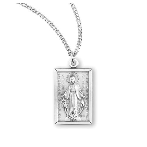 Rectangular Sterling Miraculous Medal Necklace