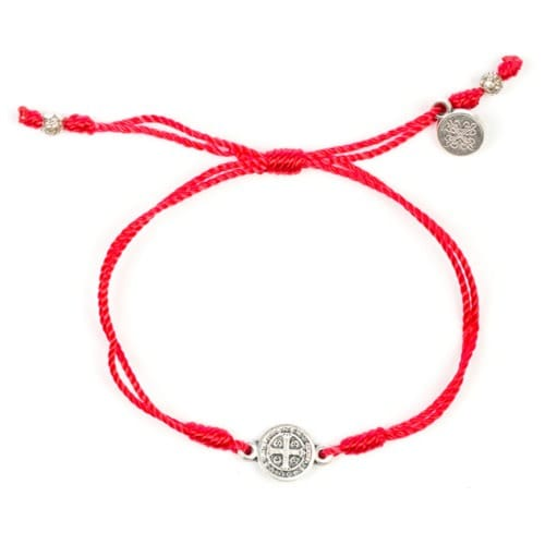 Red Silver St Benedict Corded Bracelet