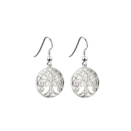 Rhodium Tree of Life Earrings - Celtic