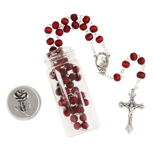 Rose Scented Wood Rosary in Glass Bottle
