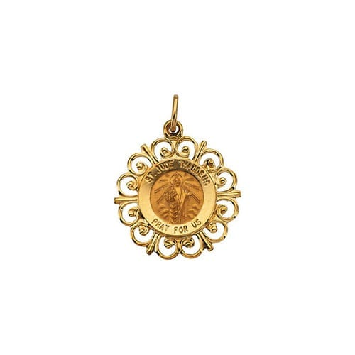Round St. Jude Pendant Medal - 14K Gold